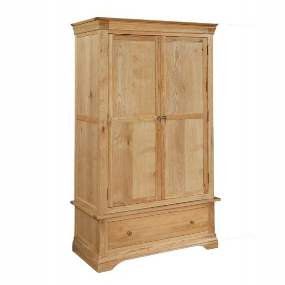 breton solid oak 2 door wardrobe with drawer the. Black Bedroom Furniture Sets. Home Design Ideas