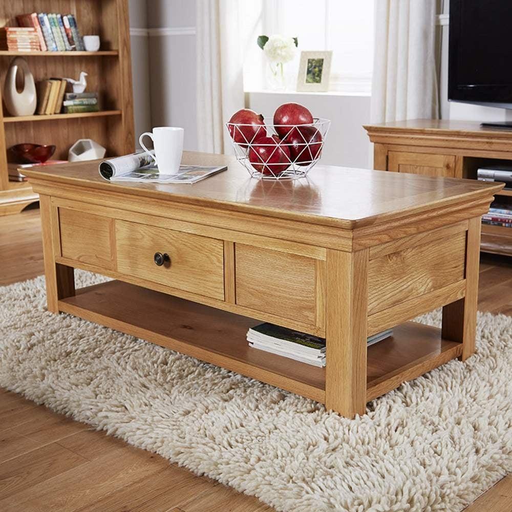 breton solid oak 2 drawer coffee table with shelf p742