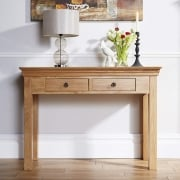 Breton Solid Oak 2 Drawer Console Table
