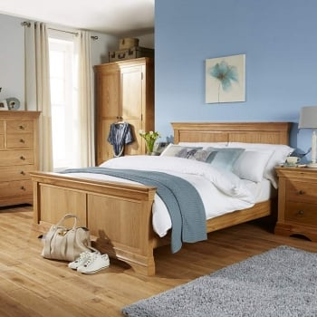 "Breton Solid Oak 4'6"" Double Bed"