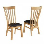 Breton Solid Oak Dining Chairs x 2
