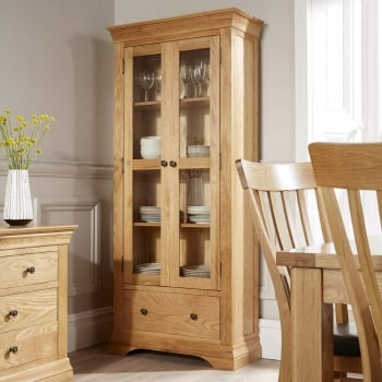 Breton Solid Oak Glass Cabinet