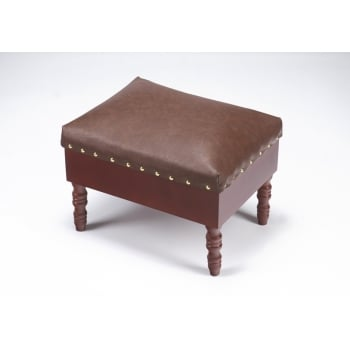 Faux Leather & Mahogany Storage Foot Stool