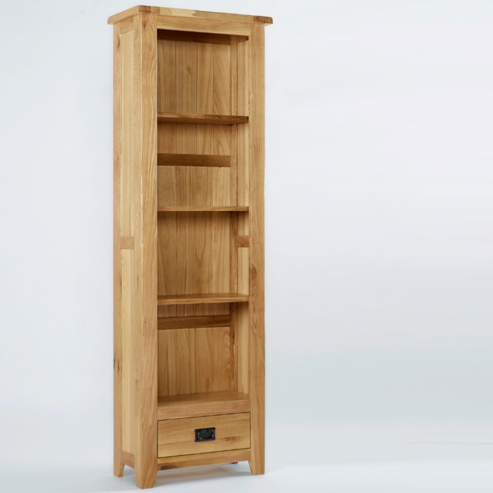Heywood Reclaimed Oak Tall Narrow Bookcase With Drawer ...