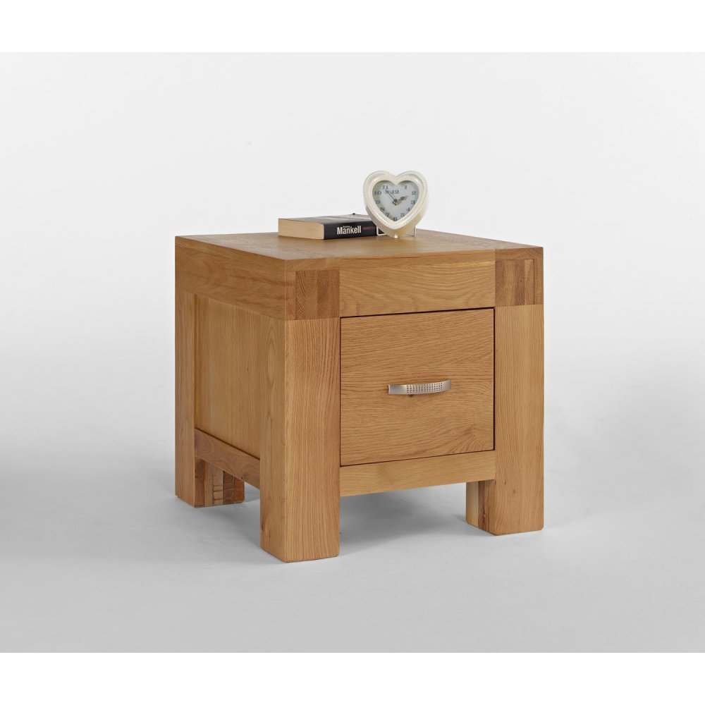 Kingston Chunky Oak Lamp Table With Drawer The Furniture House