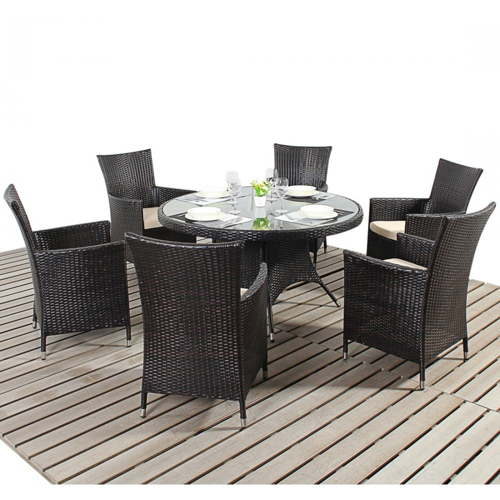 Dining Sets For 6: Port Royal Luxe Round 6 Seater Dining Set