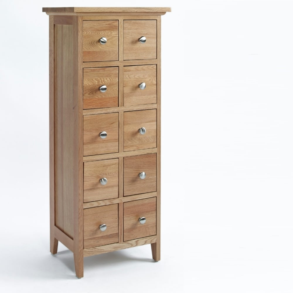 Melbourne Oak 10 Drawer DVD/CD Cabinet ...