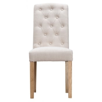 Oban Upholstered Button Back Dining Chair Beige