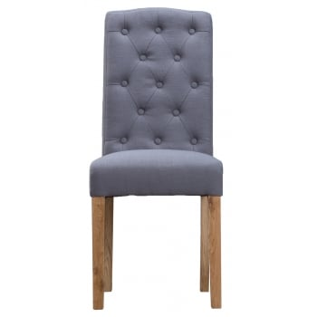 Oban Upholstered Button Back Dining Chair Grey