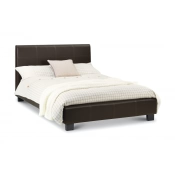 Phoenix Small Double Bed Frame- Brown Faux Leather
