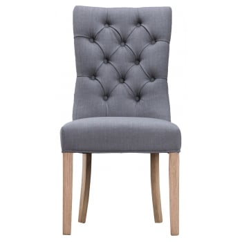 Prestwick Fabric Button Back Dining Chair Grey