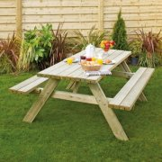 Rectangular Picnic Bench With Fold Up Seats