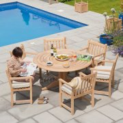 Roble Broadfield 1.45m Round 6 Seater Dining Set
