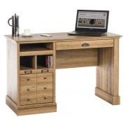 Scribed Oak Effect Desk with Multiple Drawers
