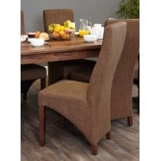 Walnut Full Back Upholstered Dining Chairs (Pairs)